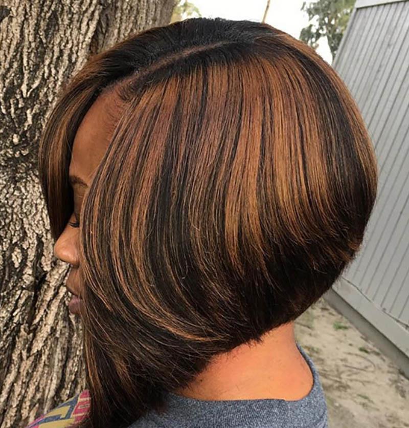 Tóc Bob A-line nhuộm highlight màu nâu sô cô la