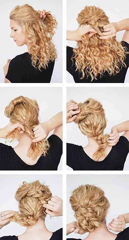 Cách tạo kiểu tóc updo hai bím búi