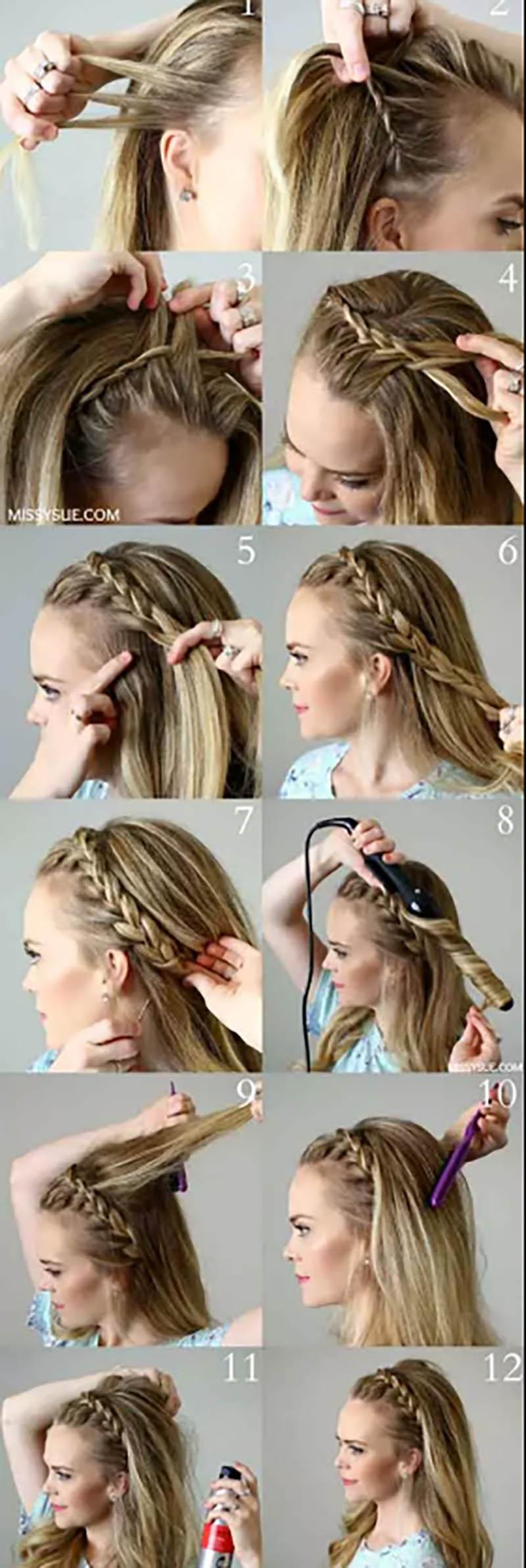 Bện tóc vòng phía trước