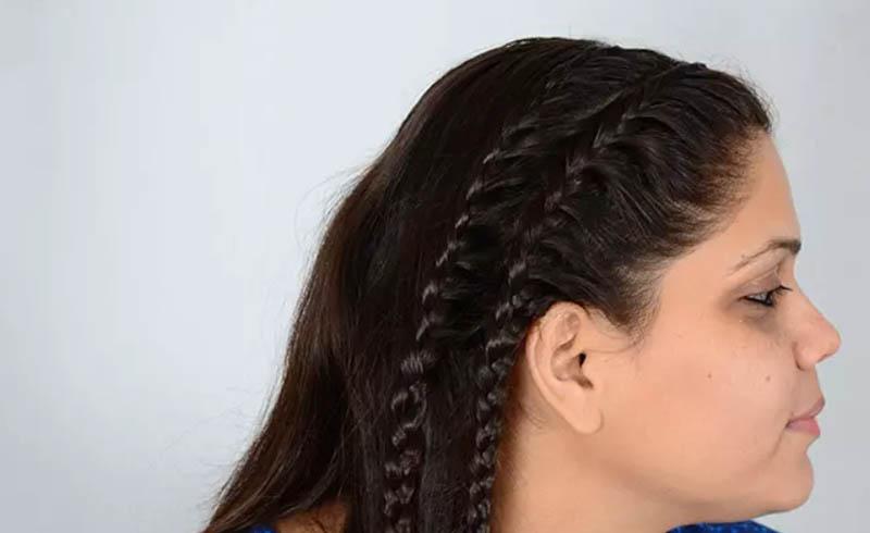 Bước 10: Làm một bím tóc tết thứ hai để hoàn thành kiểu tóc
