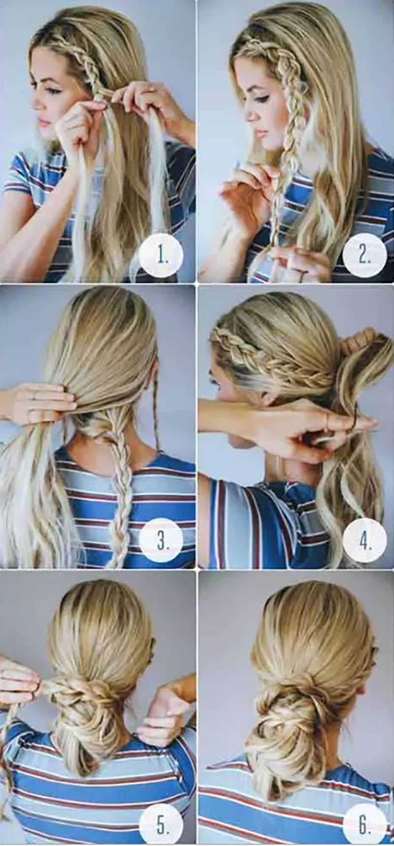 Bún tóc một bên buộc thấp