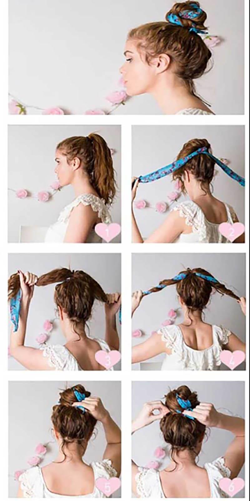 Cách búi tóc khăn