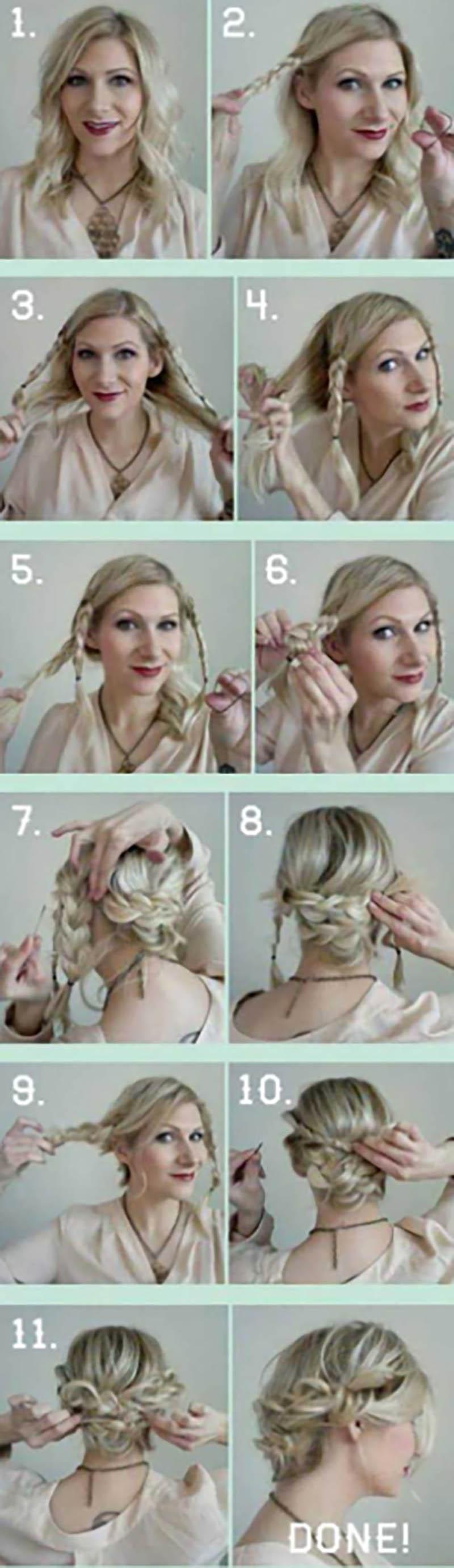 Cách tạo kiểu updo bốn bím tóc rối