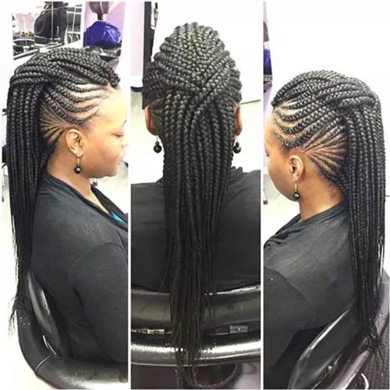 Bện tóc kiểu Mohawk chéo