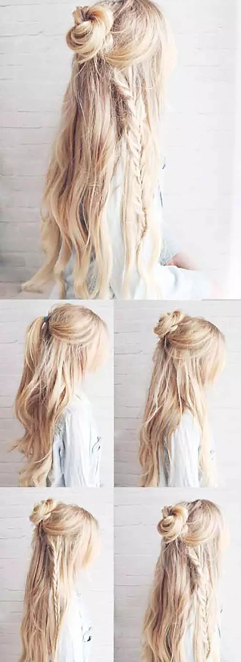 Bím tóc thắt một bên và cuộn hình hoa