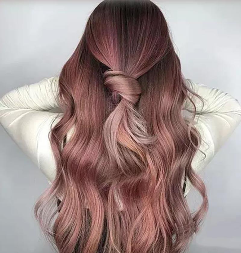 Tóc nút thắt hồng vàng