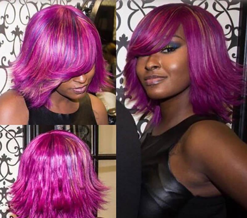 Tóc Bob nhuộm màu tím và màu hồng