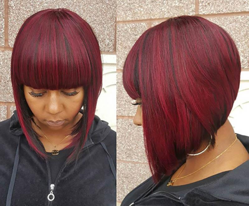Tóc Bob nhuộm màu đỏ Burgundy và mái ngang dày