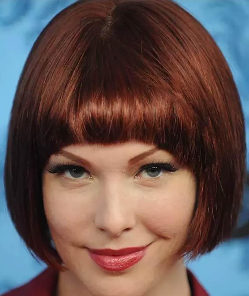 Tóc Bob nhuộm nâu đỏ