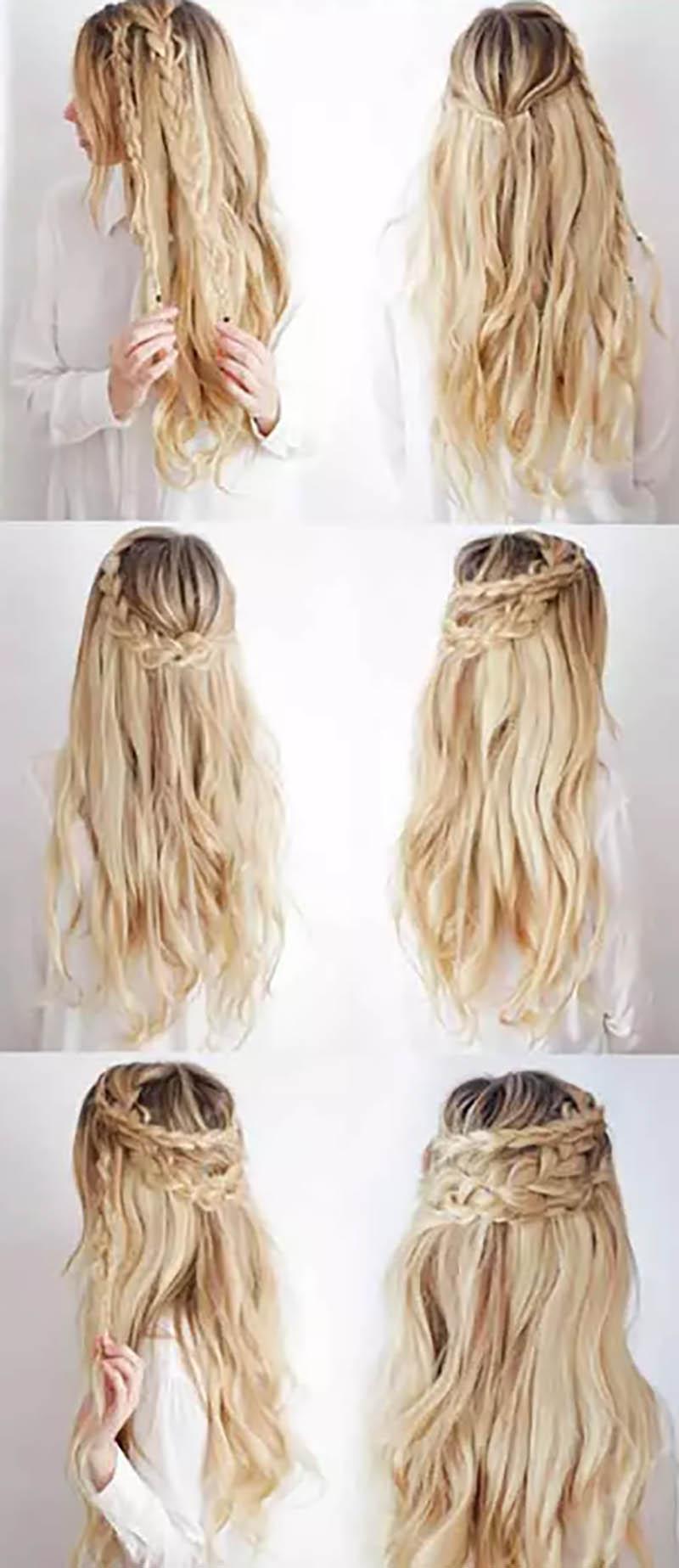 Tết một nửa tóc vòng phía sau