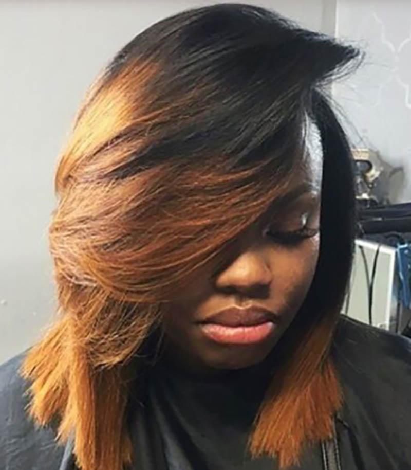 Tóc Bob dài nhuộm màu caramel