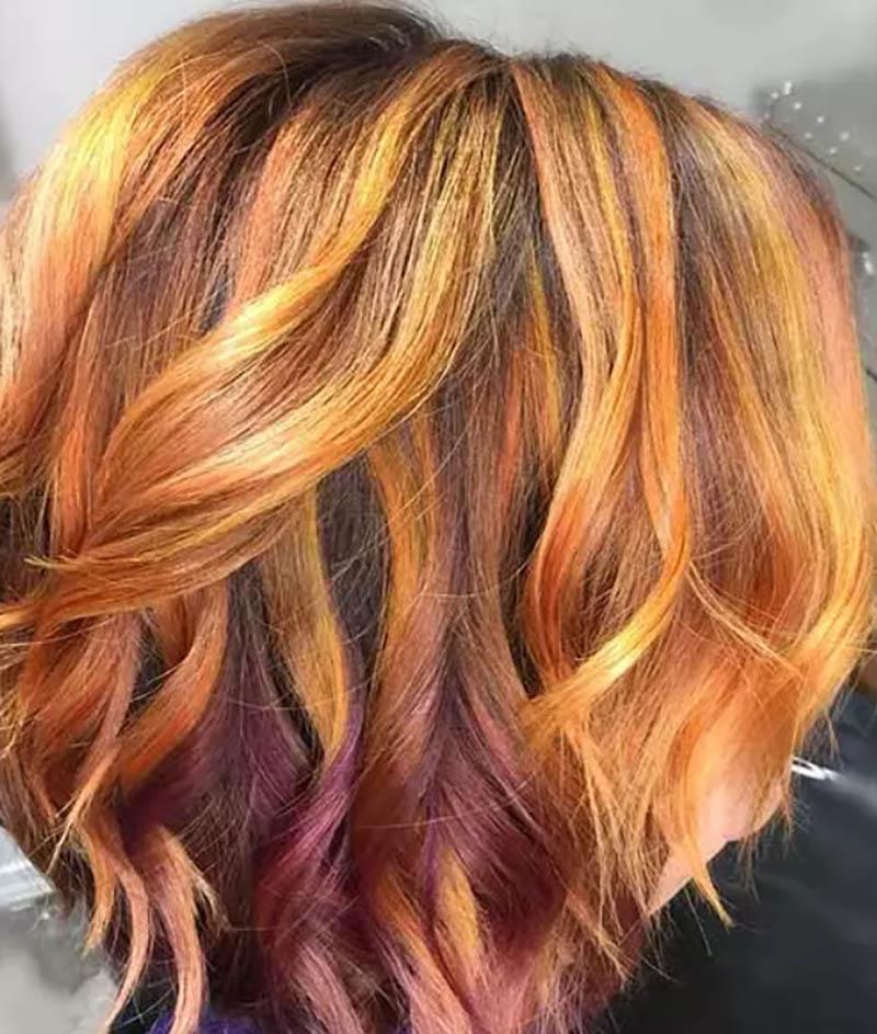 Kiểu tóc bob nhuộm màu phượng hoàng