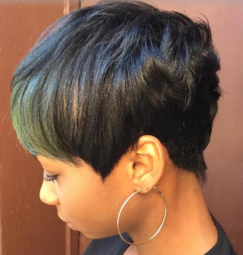 Tóc Bob Pixie nhuộm màu xanh lá cây ô liu