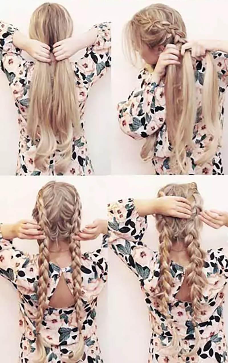 Bím tóc thắt 2 bên từ trên xuống