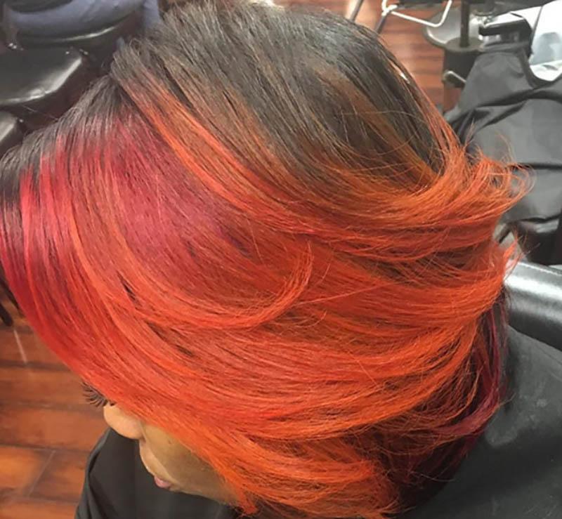 Tóc Bob màu cam rực lửa