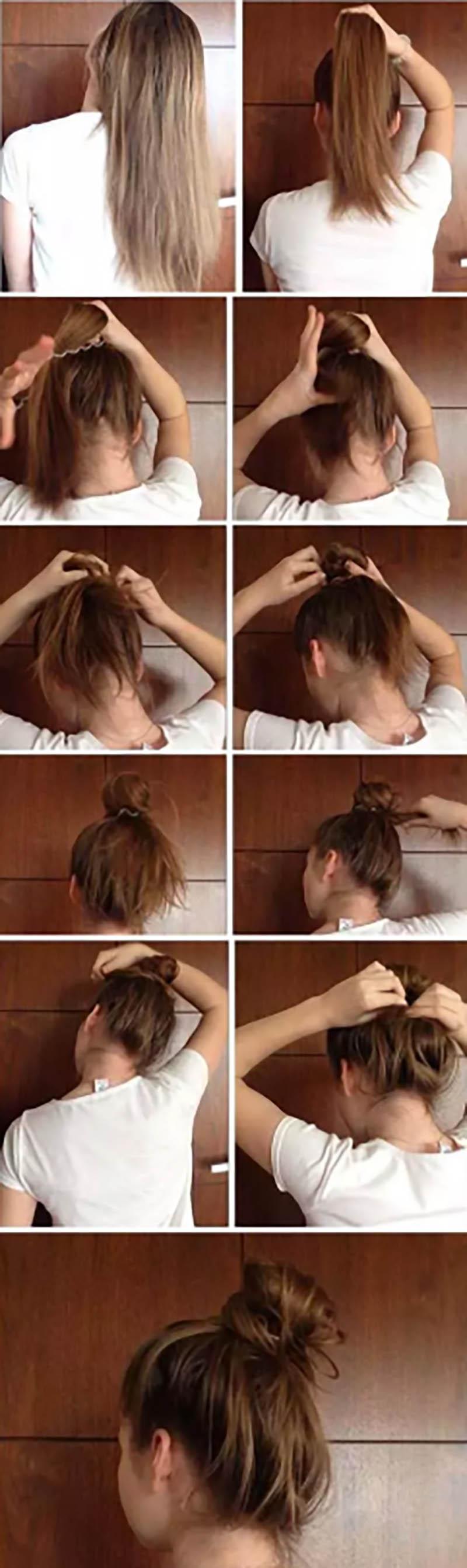 Kiểu tóc Messy Bun Updo
