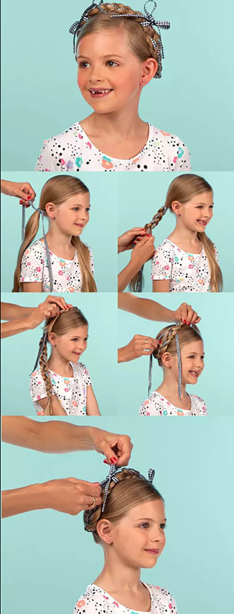 Tóc thắt bím quấn quanh đầu