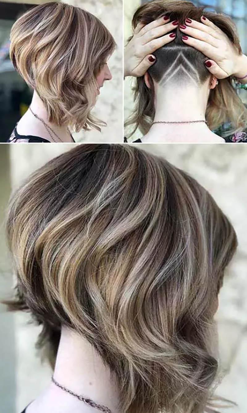 Kiểu tóc bob xoăn với phần cạo cá tính sau gáy