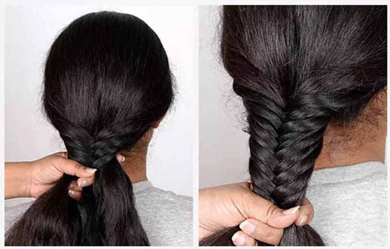 Hướng dẫn tết tóc đuôi cá đơn giản và chi tiết nhất bước 4