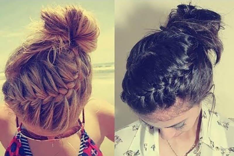 Bện tóc kiểu Pháp với tóc búi cao