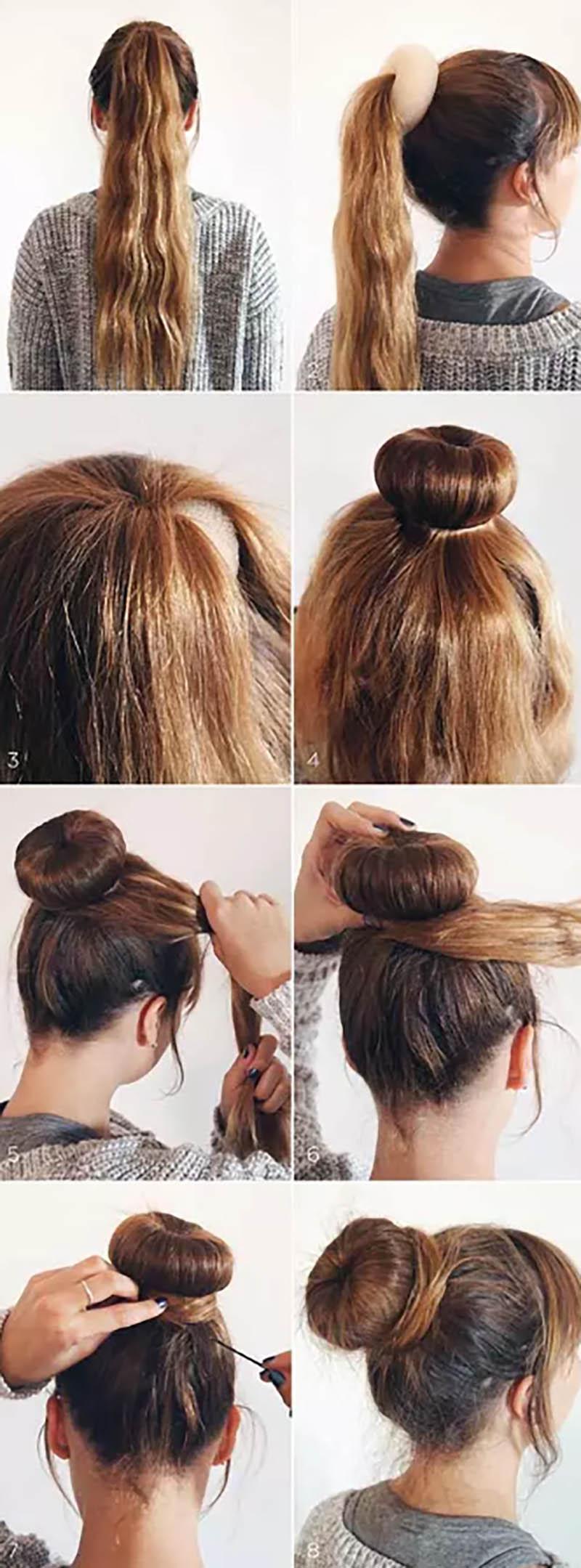 Búi tóc cao và tròn