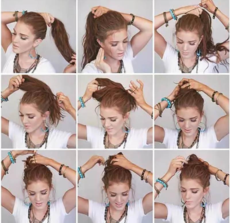 Búi tóc cao với bím tóc phía sau