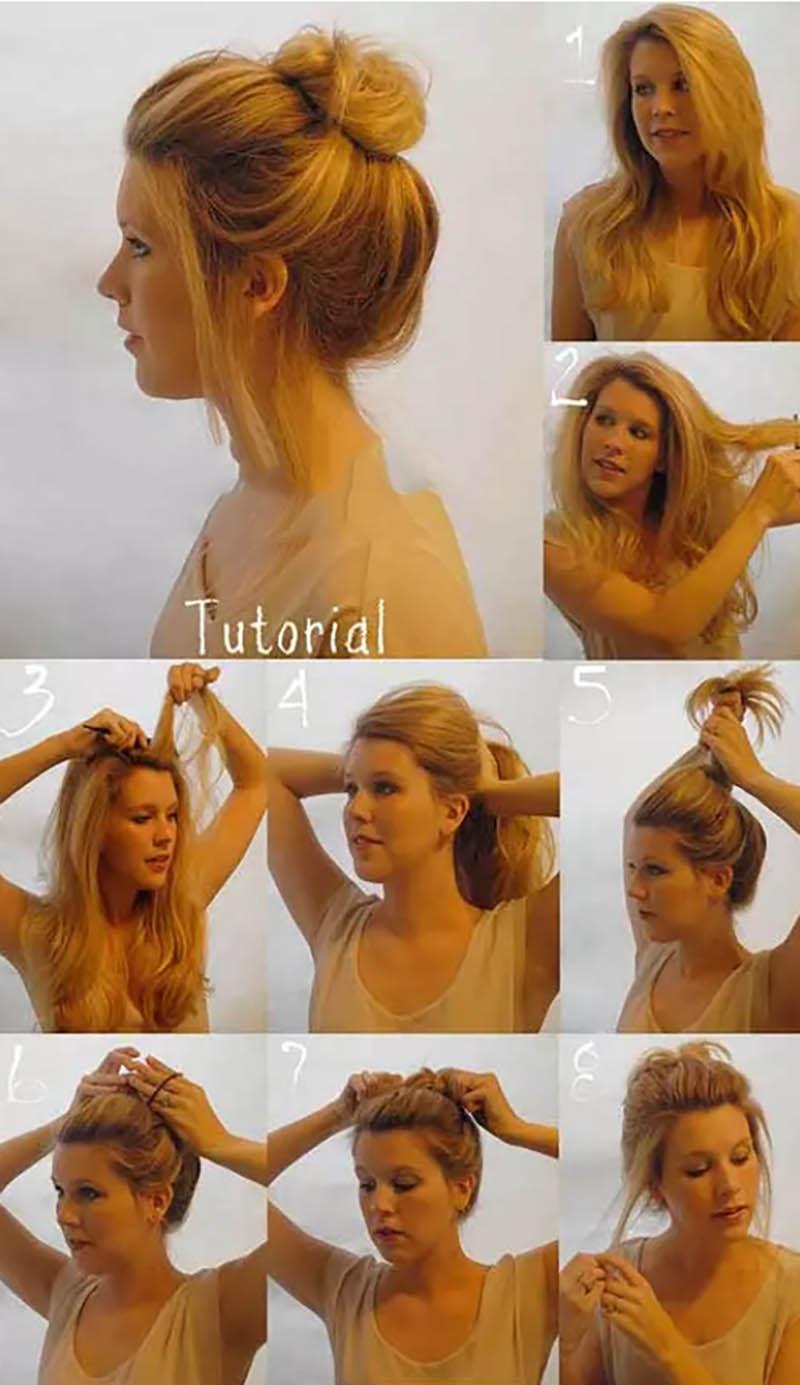 Búi tóc lỏng lộn xộn tự nhiên