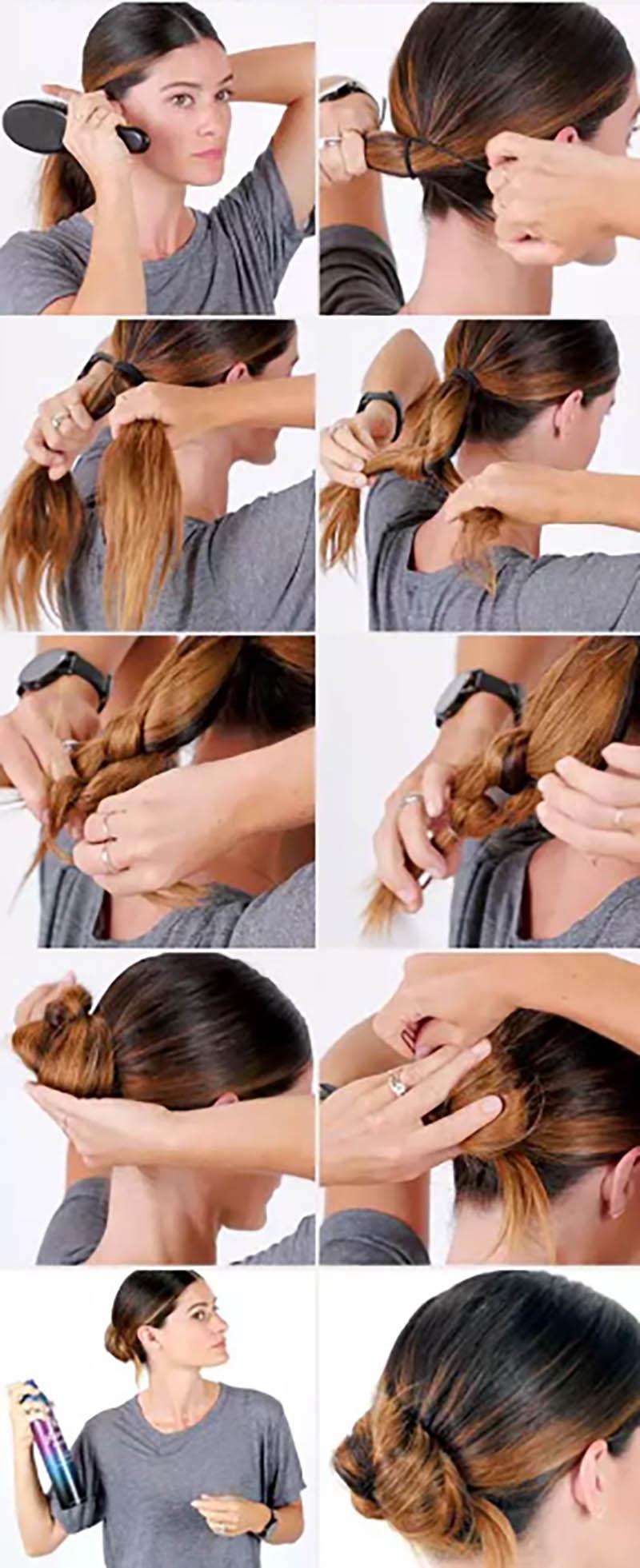 Búi tóc thấp kết hợp với tết mái