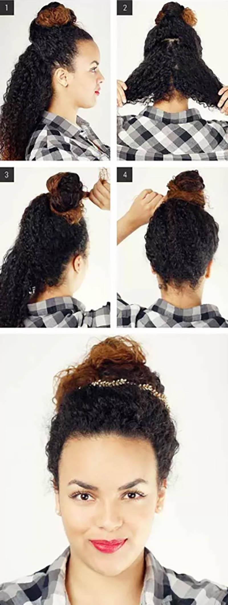 Búi tóc thắt chéo lộn xộn