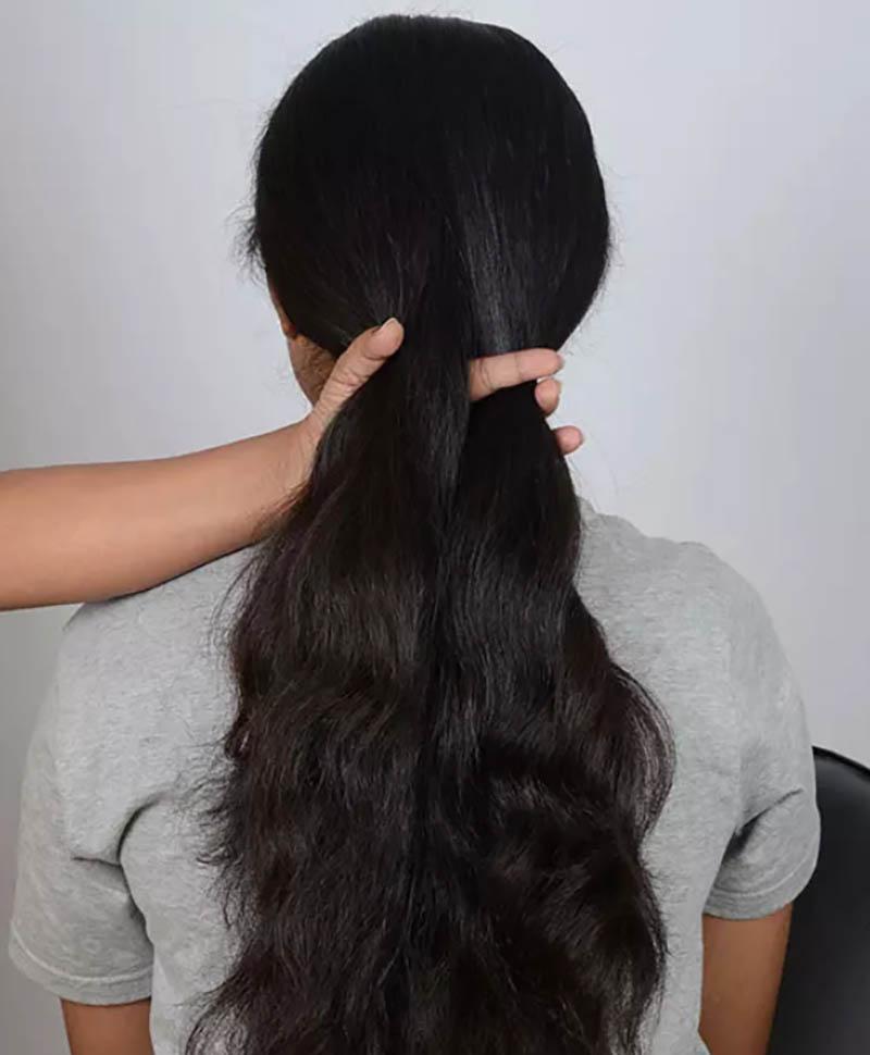 Hướng dẫn tết tóc đuôi cá đơn giản và chi tiết nhất bước 2