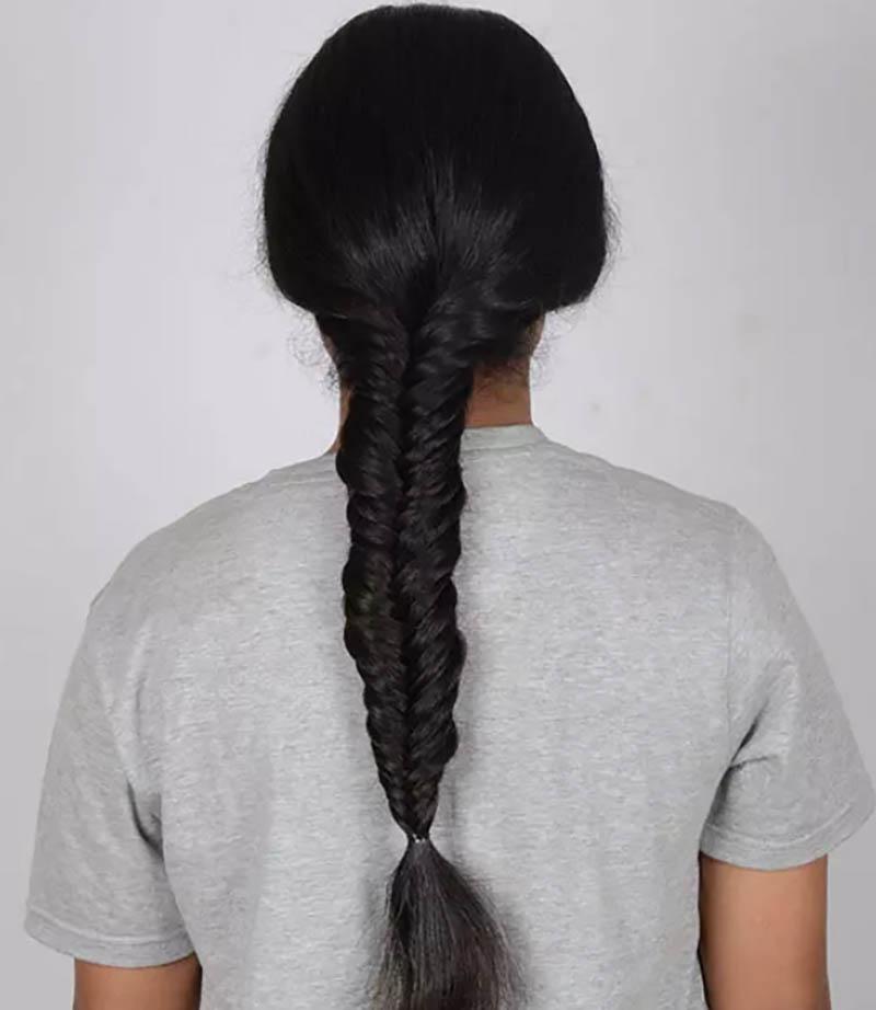 Hướng dẫn tết tóc đuôi cá đơn giản và chi tiết nhất bước 5