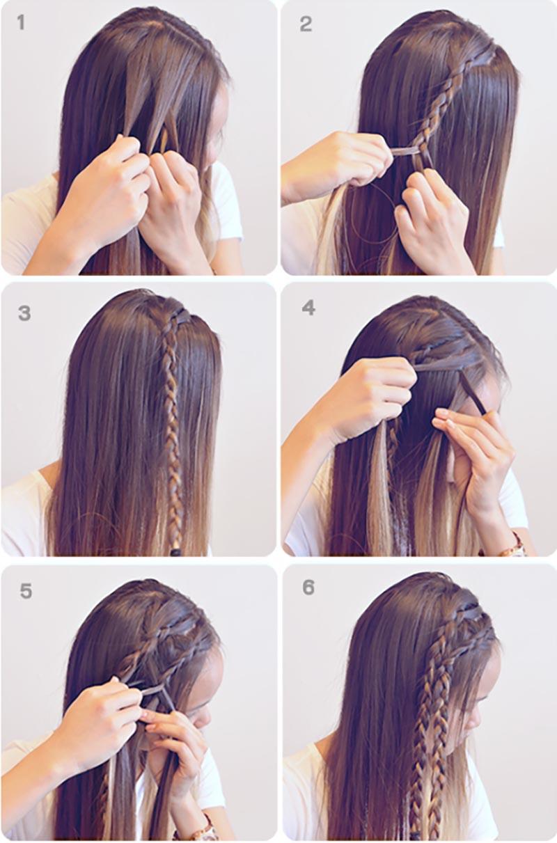Kiểu tết tóc viền đơn giản