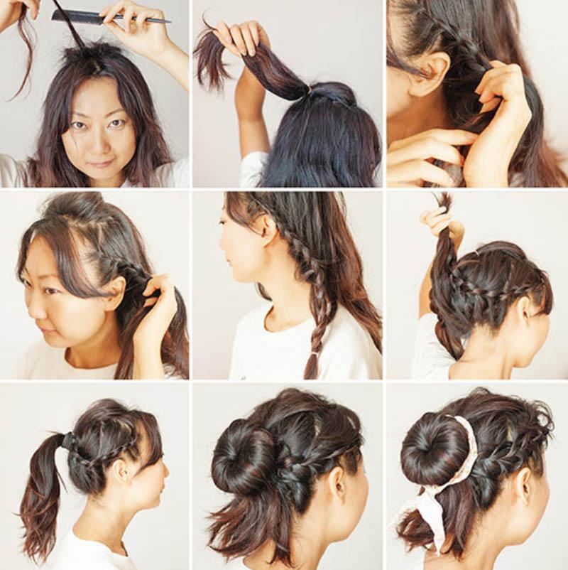 Kiểu tóc búi Donut đáng yêu