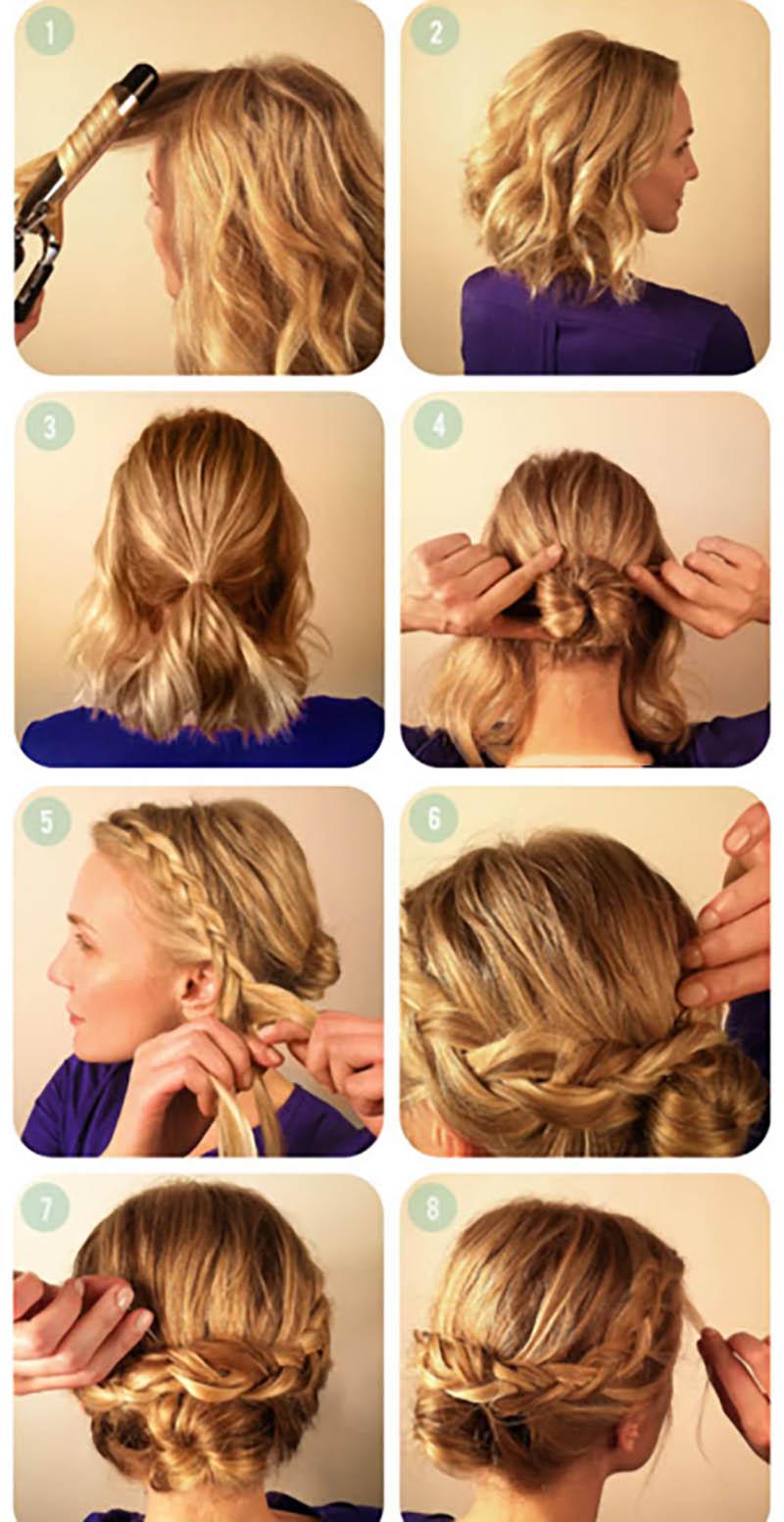 Kiểu tóc búi thấp kết hợp tết tóc thái dương