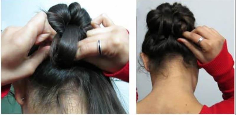 Kiểu tóc updo thanh lịch phù hợp cho trang phục Ấn Độ bước 6