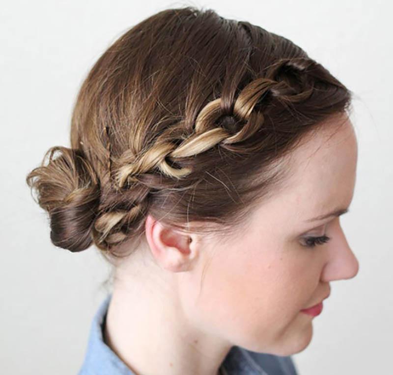 Tóc tết mái kết hợp búi tóc thấp