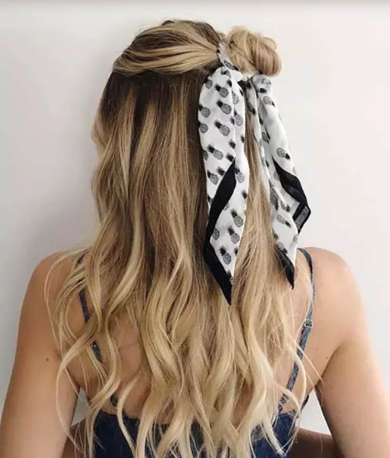 Búi tóc một nửa với khăn turban