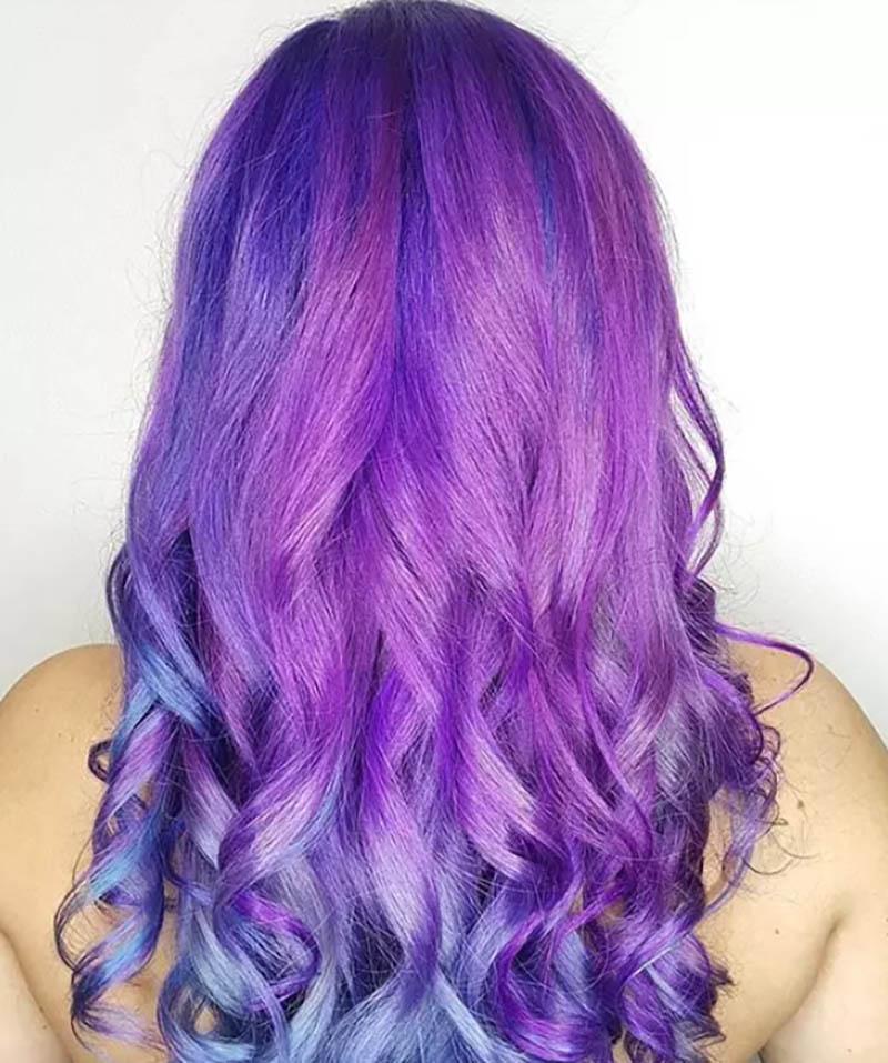 Tóc dài nhuộm Ombre màu tím như nàng tiên cá