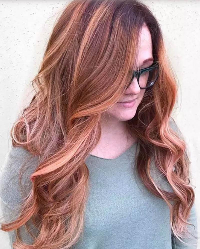 Tóc layer dài nhuộm Ombre màu Mahogany Apricot