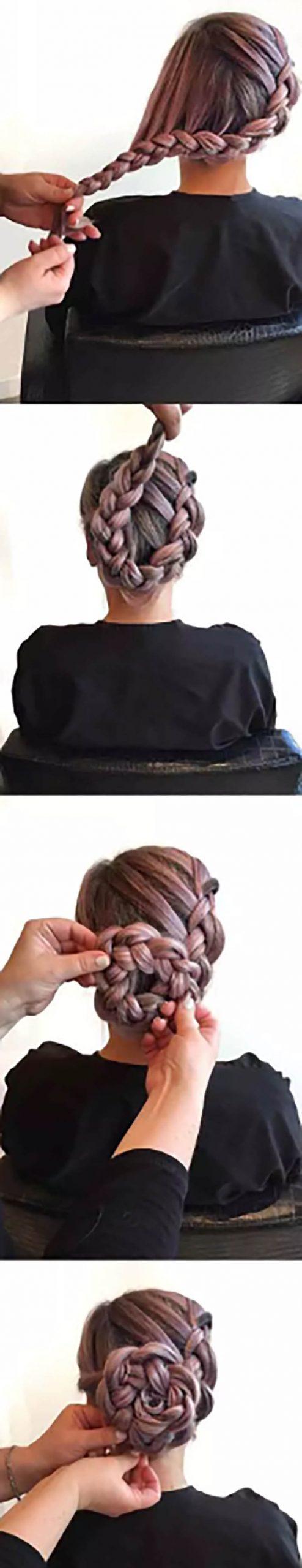 Búi tóc với kiểu tết đuôi tôm đơn giản