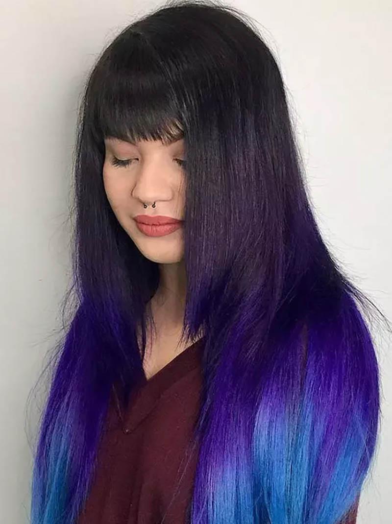 Tóc layer dài nhuộm Ombre màu tím nổi bật