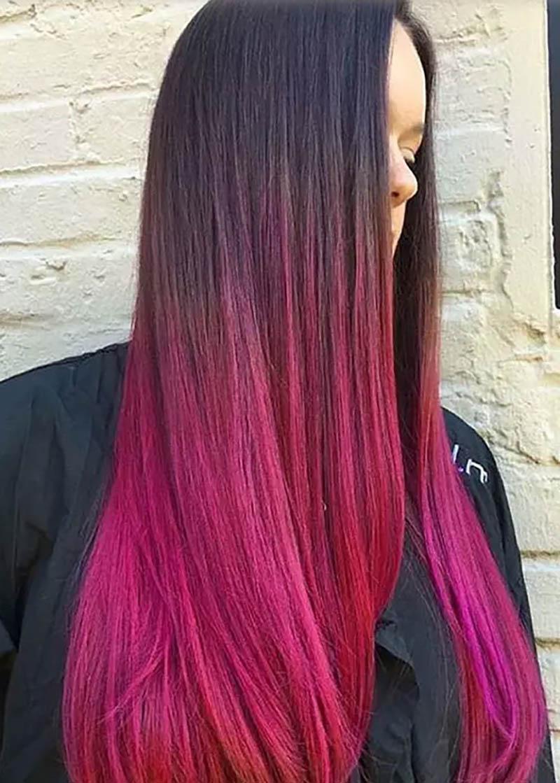 Tóc siêu dài nhuộm Ombre màu đỏ sẫm