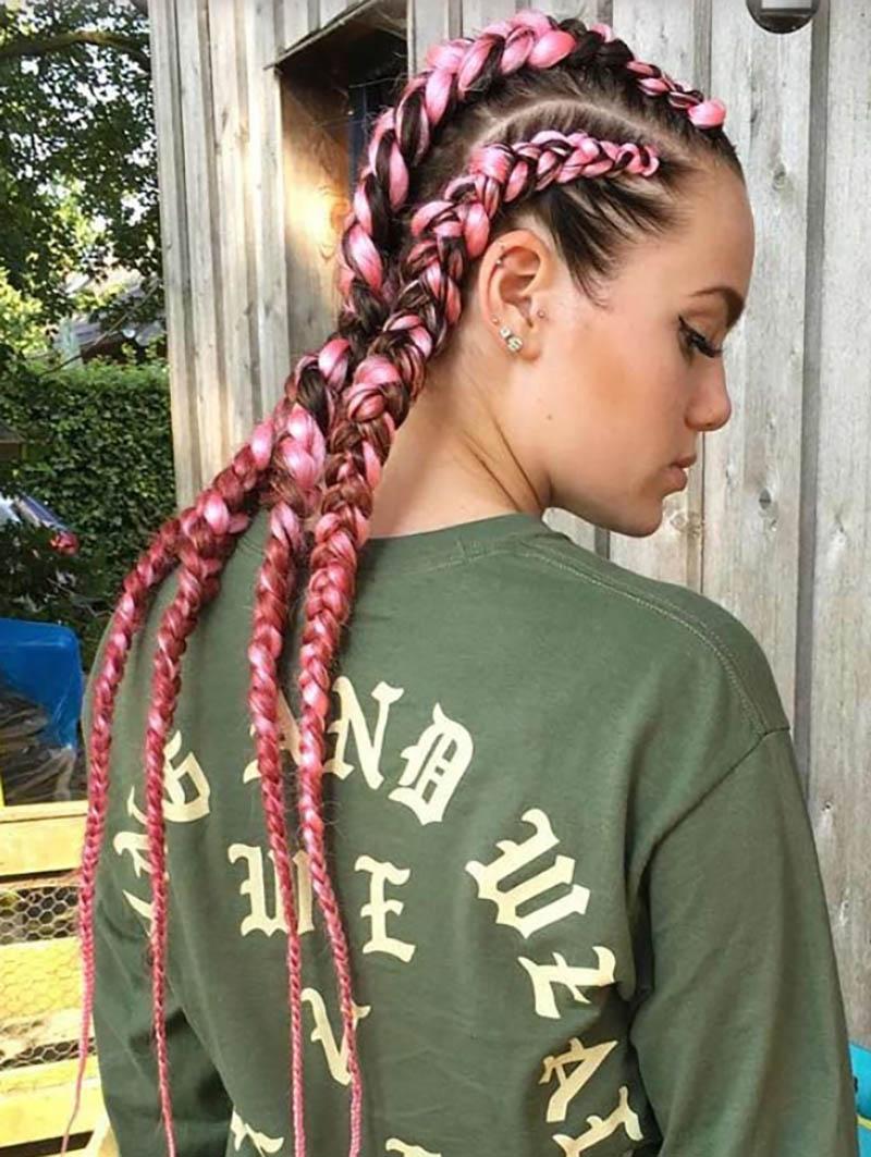 Bím tóc kiểu Hà Lan và kết hợp màu tóc hồng