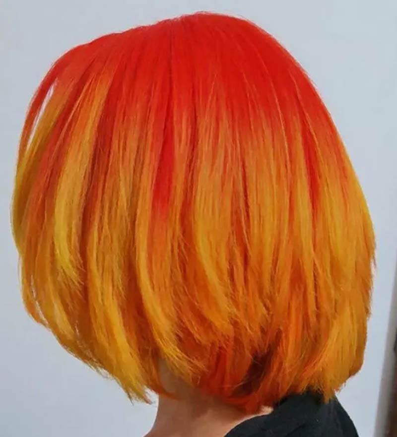 Tóc bob thẳng nhuộm Ombre màu vàng/ cam sống động
