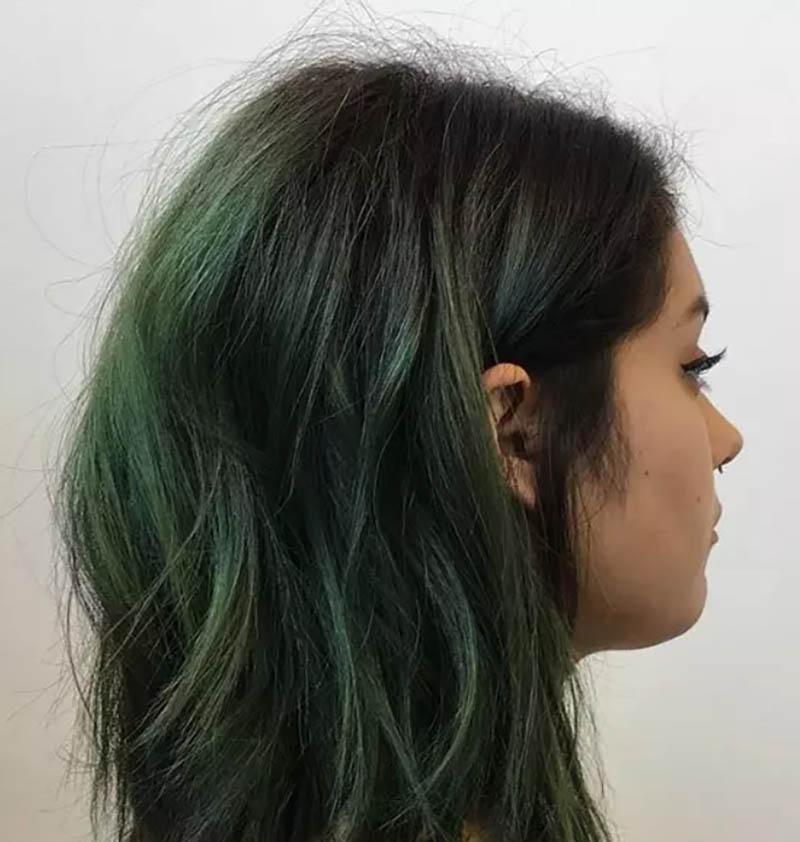 Tóc bob dài đánh rối nhuộm Ombre màu xanh lá cây đậm