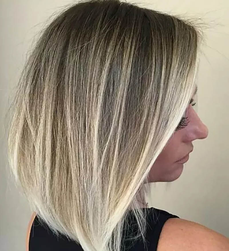 Tóc bob thẳng nhuộm Ombre màu vàng bạch kim
