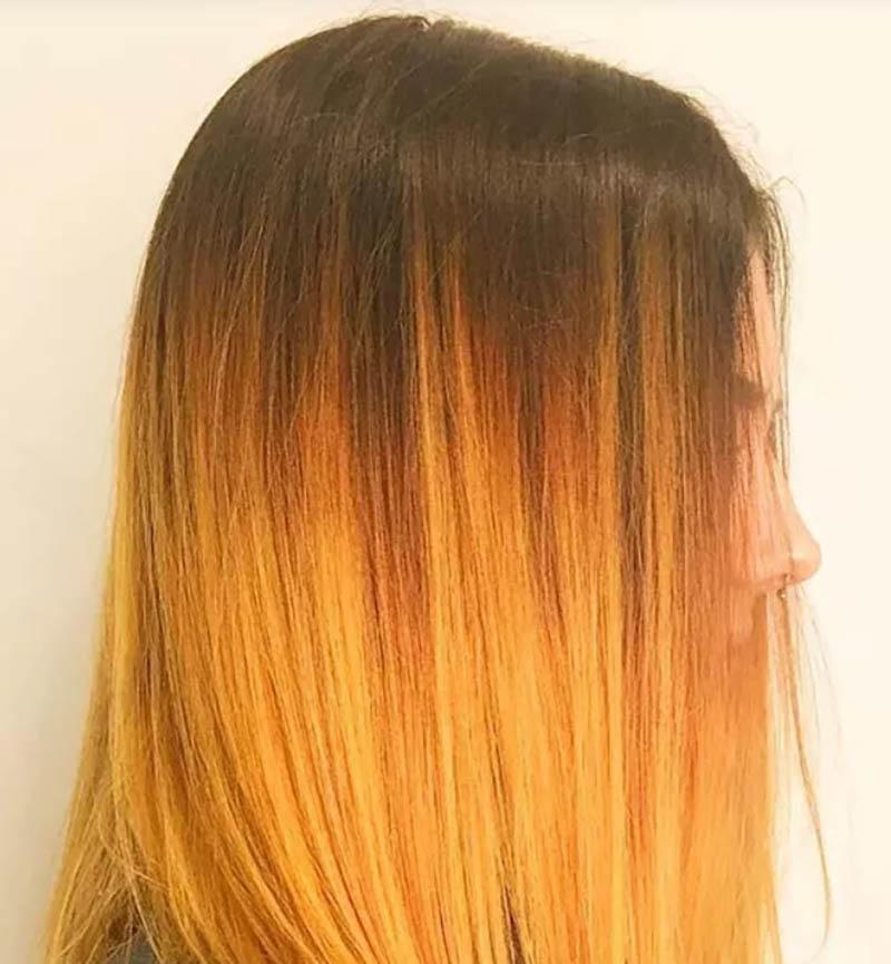 Tóc cắt góc cạnh nhuộm Ombre màu vàng dịu dàng