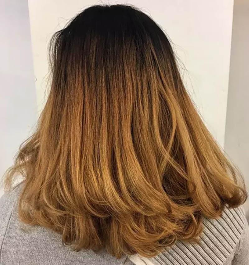 Tóc cúp đuôi nhuộm Ombre màu vàng