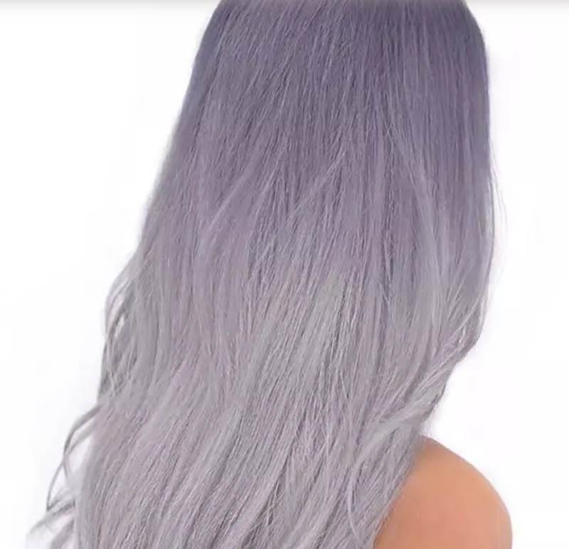 Tóc dài nhuộm Ombre màu xám tím