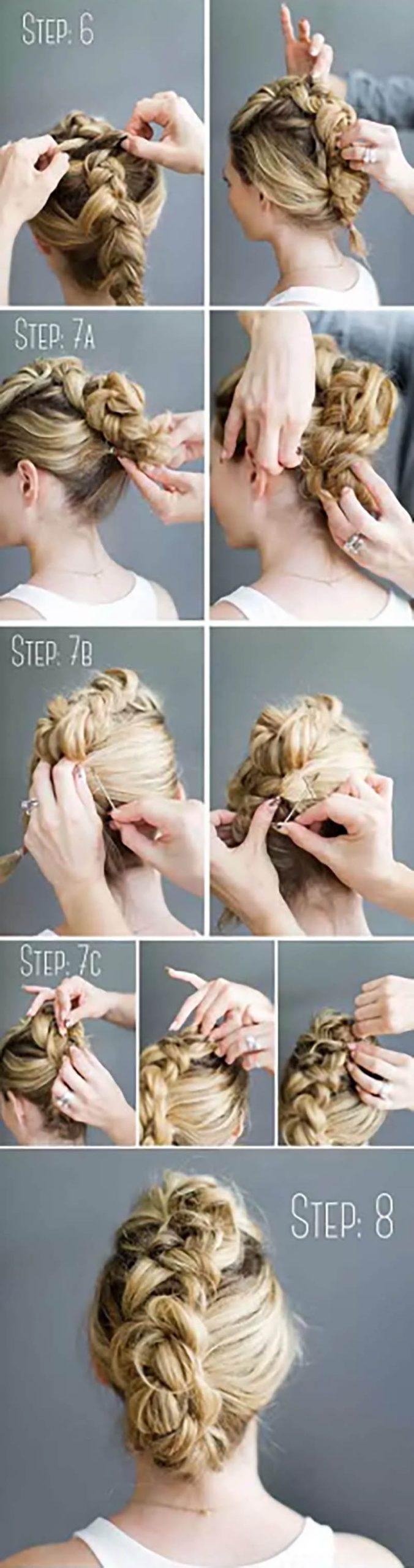 Búi tóc kiểu Mohican và tết kiểu Hà Lan đơn giản